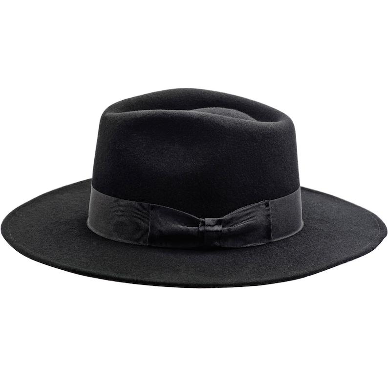 CHICAGO Wool Felt Teardrop Fedora Top Wide Brim Gambler Hat Jazz Vintage Boho Mobster Gangster Crown Dressy Mens Trilby Elwood Baldwin BLACK