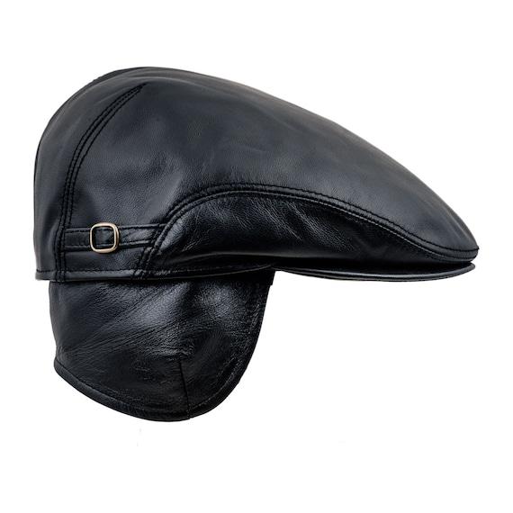 BYRON gorra plana de cuero genuino con orejera plegable  e6a578db3b6