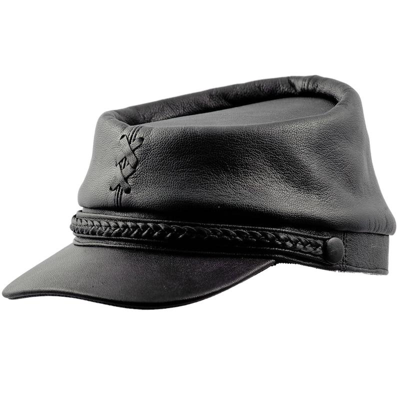 PATRIOT gorra quepis de guerra civil estadounidense de cuero  8fff2629d10