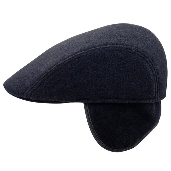 8c982af8ee490 ZAN Warm Winter Flat Cap with Foldable Earflap wool blend