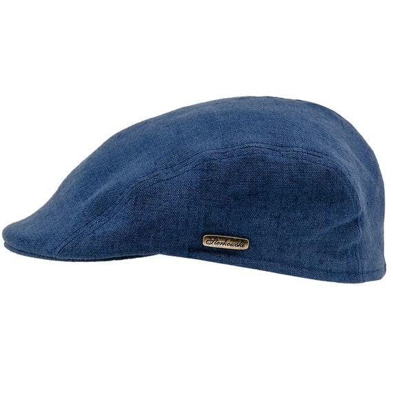 GECKO gorra plana de verano de lino puro azul  e9dbbbc688d