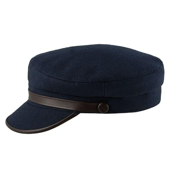 barato para la venta el más nuevo luego RINGO gorra de pescador lana / cuero azul marino / marrón | Etsy