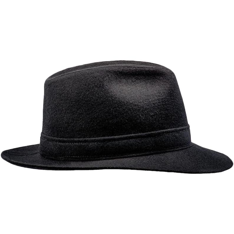 CORLEONE sombrero de ala grande fedora de lana negro  901b9ea97be