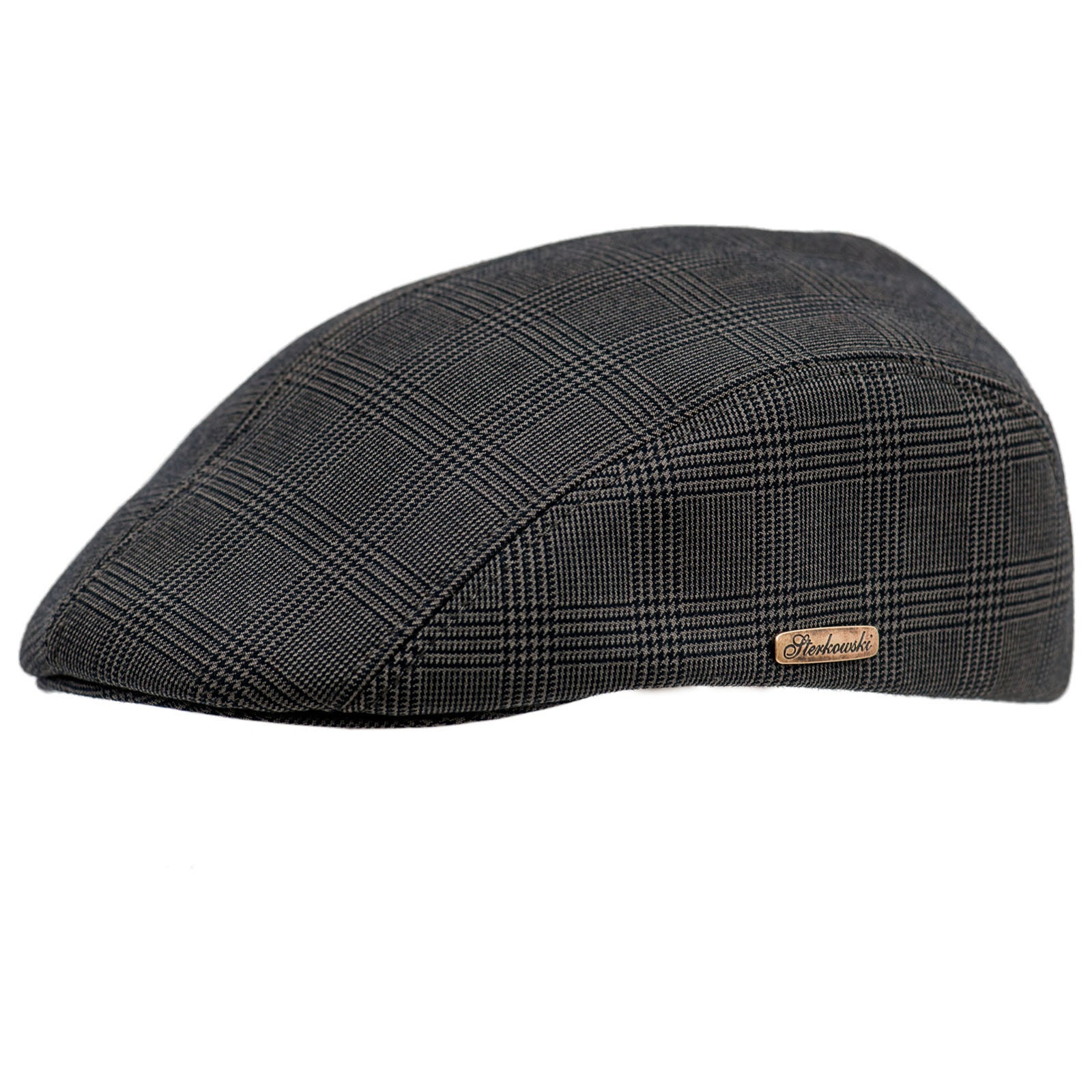 f7840e84511 Cotton Flat Cap with earflap grey check