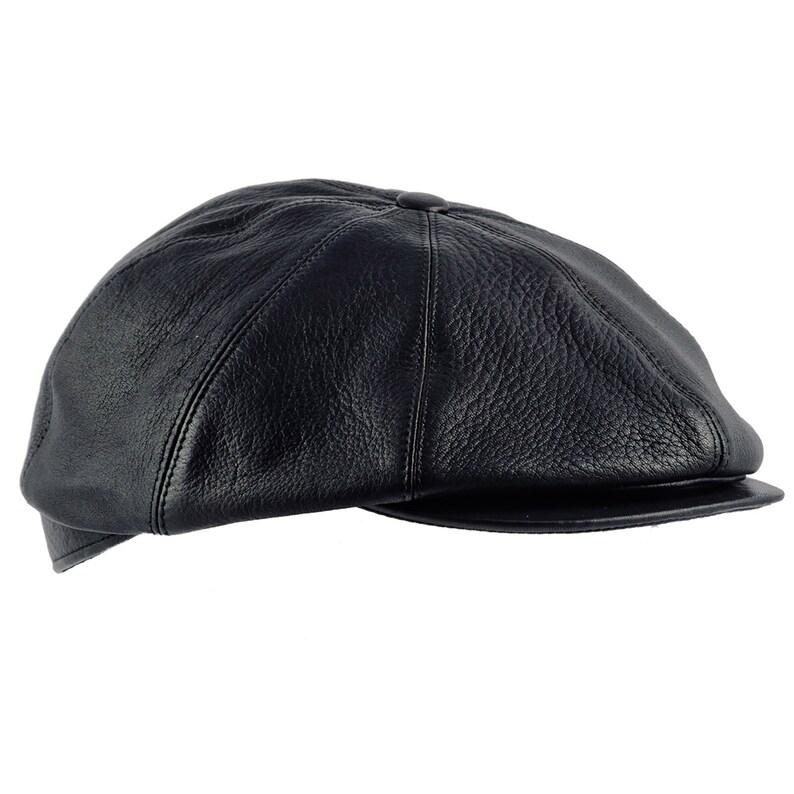 TONY gorra irlandesa gatsby de cuero genuino negro  876d9af839a
