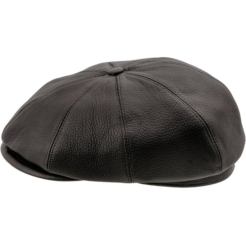 BRIAN 8 Panels Gatsby Brian Natural Leather Flat Cap Irish  9f6a70a5a6e2