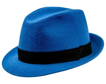 JAZZPANA - Sewn Short Brim Trilby Hat made of Wool Cloth - blue