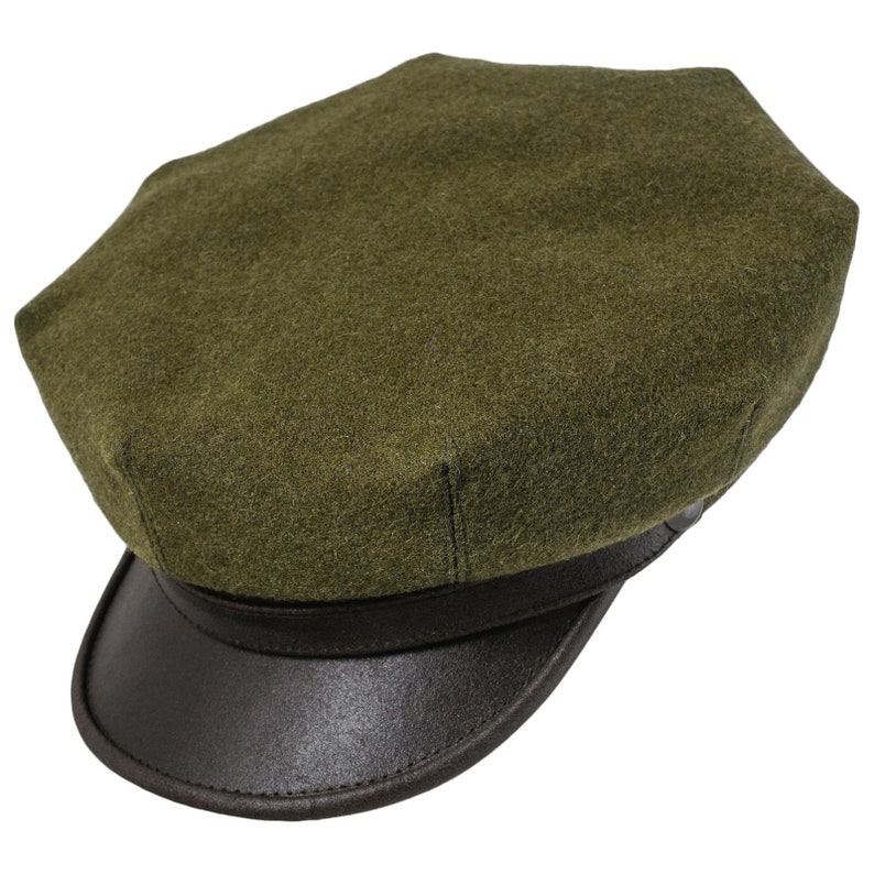 1930s Style Mens Hats and Caps MOTO Motorcycle Biker Peaked Cap Wool Cloth Leather Brim Vintage Riding Harley Chopper Cruiser Wild One Marlon Moto Retro Hat GREEN-BROWN $70.00 AT vintagedancer.com