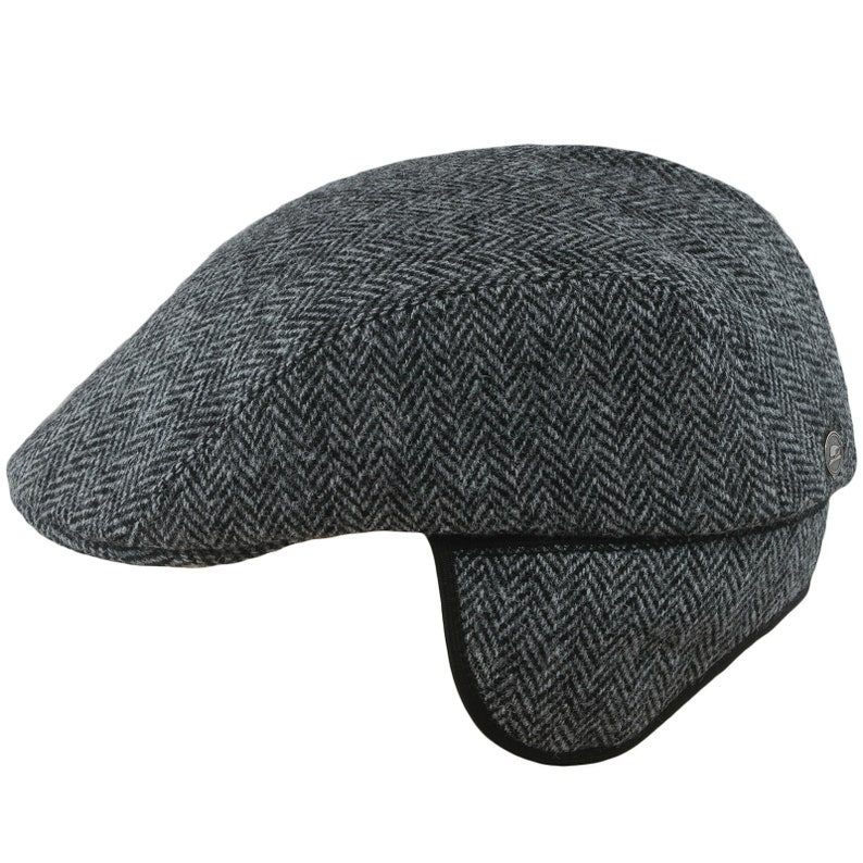 723c44624df09 NORTE Earflap Flat Cap Harris Tweed Jeff Paddy Irish Wool