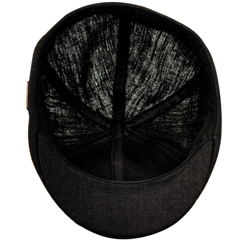 RUSTY gorra con pico de pato de verano de lino puro negra  295d07e1959