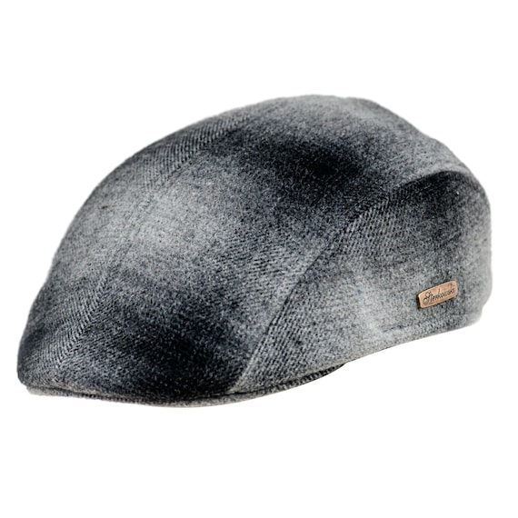 f9171d065f7 Flat cap with earflap dark and light grey