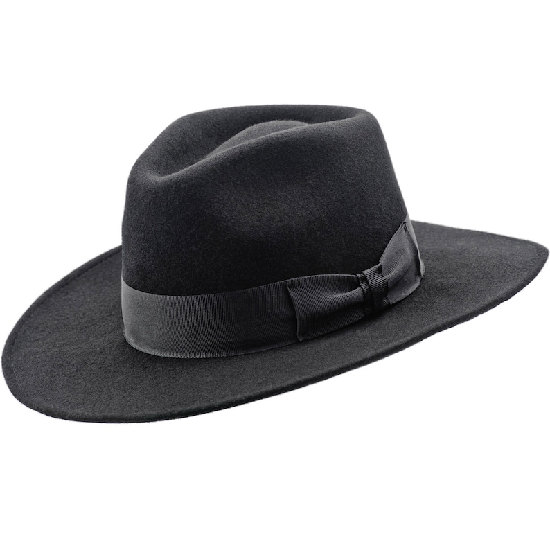 fe0b826f80dfa CHICAGO Wool Felt Teardrop Top Wide Brim Fedora Gambler Hat