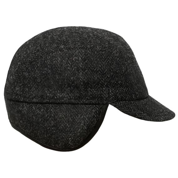 HUDSON Genuine Scottish Harris Tweed Pure Wool Earflap Winter Cap Herringbone Danish Patrol Baseball Trucker Ear Tab Military Hat BLACK-GRAY