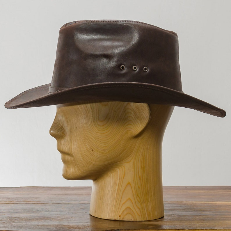 BUCKAROO Genuine Leather Western Cowboy Hat Outback Rodeo Old West Cattleman Rancher Cowman High Plains Drifter Wild West Horse Riding
