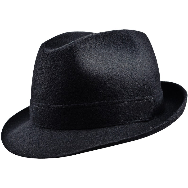 587d1fdcb61 ELWOOD Sewn Short Brim Trilby Hat Wool Cloth Retro Belushi