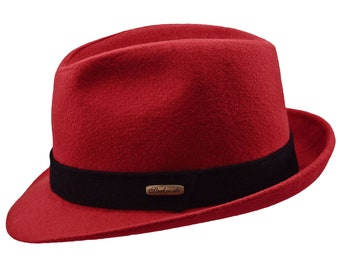 JAZZPANA - Sewn Short Brim Trilby Hat made of Wool Cloth - red / black