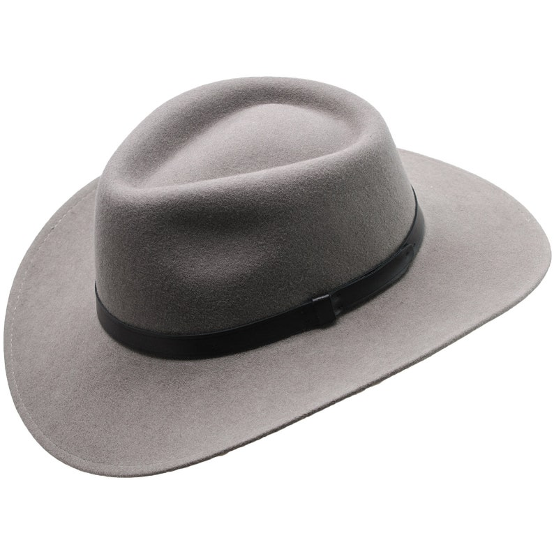 b6dc518e50c19 SHARPS Wool Felt Teardrop Top Large Brim Fedora Hat Classic