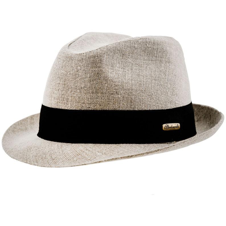 FOLK Linen Cloth Summer Trilby Short Brim Sun Protection Hat  bf944d4d88a1