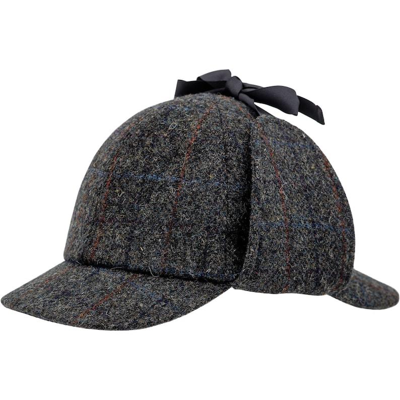 1930s Style Mens Hats and Caps HOLMES Genuine Scottish Harris Tweed Pure Wool Deerstalker Sherlock Cap Hunting Trapper Deer Hunter 6 Panels Earflap Plaid Tartan Hat GRAY $70.00 AT vintagedancer.com