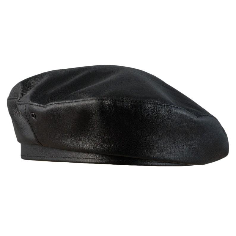 Men's Vintage Style Hats, Retro Hats REBEL Leather Artist Bohemian Retro Beret French Style Military Army Boy Scout Reservist Autumn Sewn Skin Che Large Crown Beatnik Hat BLACK $74.00 AT vintagedancer.com