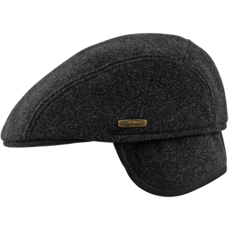 fe456f40711 FROSTY IKE Soft Melton Wool Warm Flat Cap with Foldable