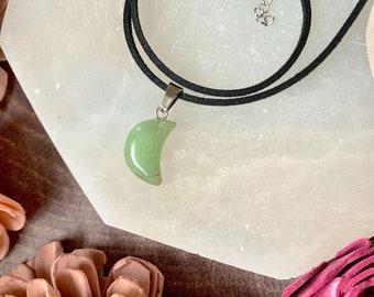 Green Aventurine Moon Pendant Choker  // Green Aventurine Moon Necklace // Moon Necklace // Opalite Choker