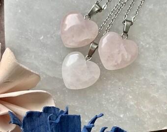 Small Rose Quartz Heart Pendant Choker  // Rose Quartz Heart Necklace // Heart Necklace // Rose Quartz Choker