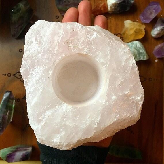 Bougeoir en Quartz rose / / Quartz Quartz Quartz Rose brut bougie porte / / lumière de thé bougie porte / / Mini jardinière en cristal d73412
