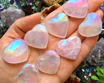Angel Aura Rose Quartz Heart // Rose Quartz Crystal Heart // Angel Aura Crystal Heart// Crystal Healing //  Reiki Healing