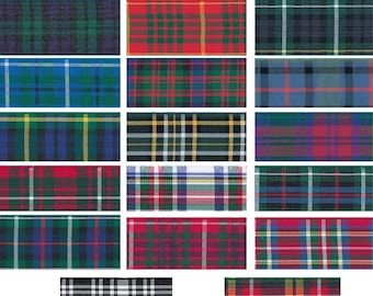 Tartan Ribbon - 17 Designs of Scottish Tartans Authority Approved Classic Woven Fabric Ribbon for Decorations, Gifts and Occasions