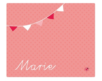 Desk pad star pennant pink with name 60x50 large