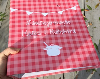 Recipe folder A4 with name red checkered Millimi