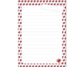 Writing pad A5 lined ladybug Millimi