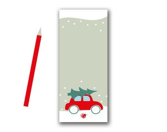Notepad Christmas car with fir tree red blue 50 sheets
