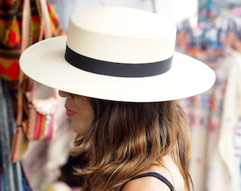 The Gibson Panama Straw Boater Summer hat in white