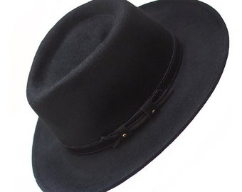 Waterproof and Crushable Black Fedora with Suede Belt