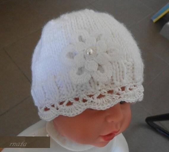 63a538e47010 bonnet nouveau né bonnet naissance baptême fille  bonnet   Etsy