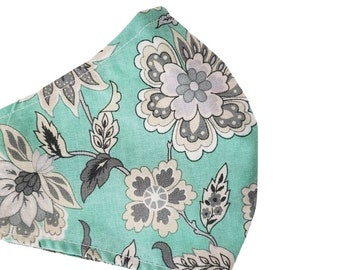 Floral Face Mask Aqua Gray Tropical Adjustable Fitted Facemask Premium Cotton Handmade USA