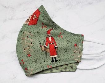 Primitive Christmas Face Mask Green Reindeer Santa Reversible Facemask Nordic Folk Art Country Winter Cotton Adjustable Handmade USA