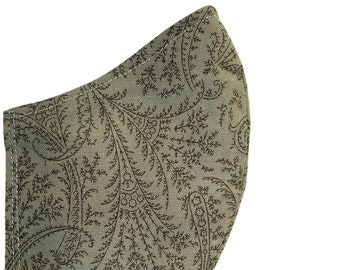 Paisley Face Mask Sage Green Cotton Dust Mask Adjustable Fitted Facemask Fall Earth Tones Women Handmade in USA