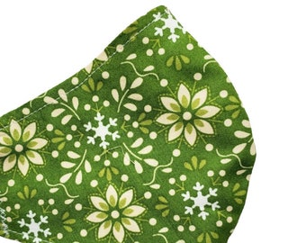 Green Flowers Face Mask Floral White on Green Adjustable Handmade USA