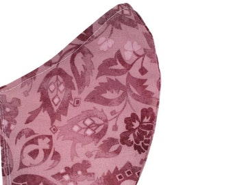 Paisley Face Mask Pink Rose Cotton Fall Dust Mask Adjustable Fitted Facemask Handmade in USA