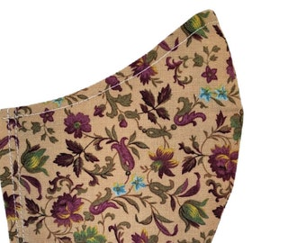 Floral Maroon Cranberry Face Mask - Flowers - Beige Colors Fall Earth Tones Cotton Dust Face Mask Adjustable Fitted Facemask Handmade USA