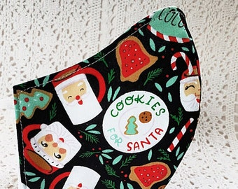 Christmas Face Mask Santa Cookies Red Green Cotton Black Winter Holiday Dust Mask Hot Cocoa Adjustable Fitted Facemask Women Handmade USA