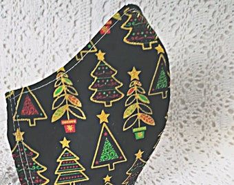 Christmas Mask Fitted Adjusters Christmas Trees Black Gold Metallic Red Green Holiday Face Mask Winter Bling Sparkle Cotton Handmade USA