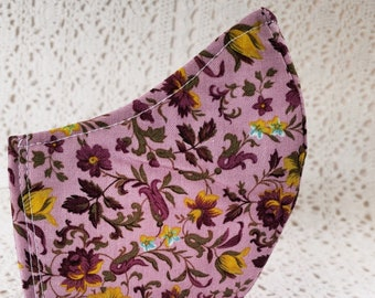 Fall Mauve Face Mask Floral Flowers Cotton Dust Mask Adjustable Fitted Facemask Handmade USA