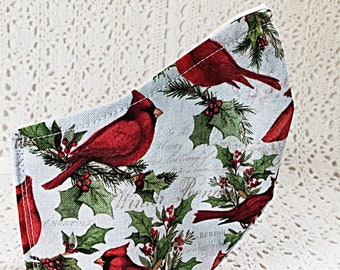 Red Cardinals Face Mask Songbirds Birds Christmas Holiday Face Mask Winter Holly Nature Cotton Adjustable Fitted Facemask Women Handmade USA