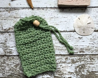 Soap Bag Sage Green Cotton Cozy Bath Mitt Bead Hanging Drawstring Soap Holder Soap on a Rope Shower Scrub Soapsaver Pouch Handmade in USA