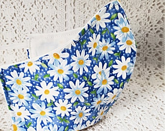Retro Flower Power Daisies Face Mask Floral White Yellow Daisy Flowers on Blue Adjustable Dust Face Mask Smoke Facemask Handmade USA