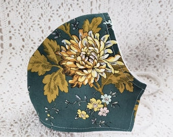 Fall Face Mask Yellow Floral Autumn Face Mask Teal Green Leaves Flowers Cotton Dust Mask Adjustable Fitted Facemask Handmade USA